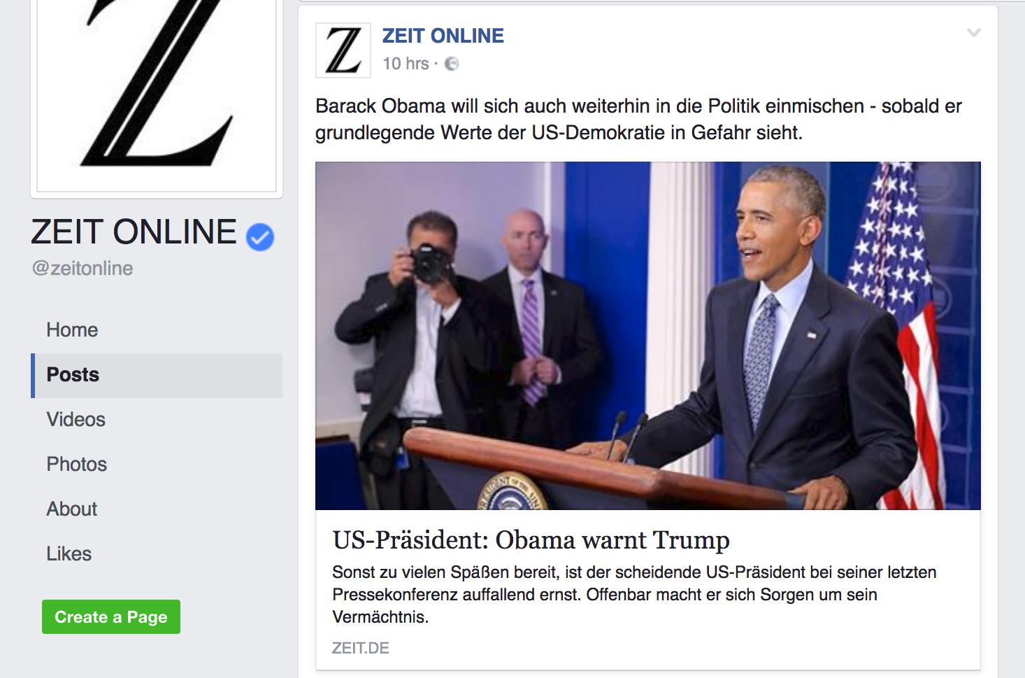 Facebookseite Zeit Online, Screenshot: matschbild.de