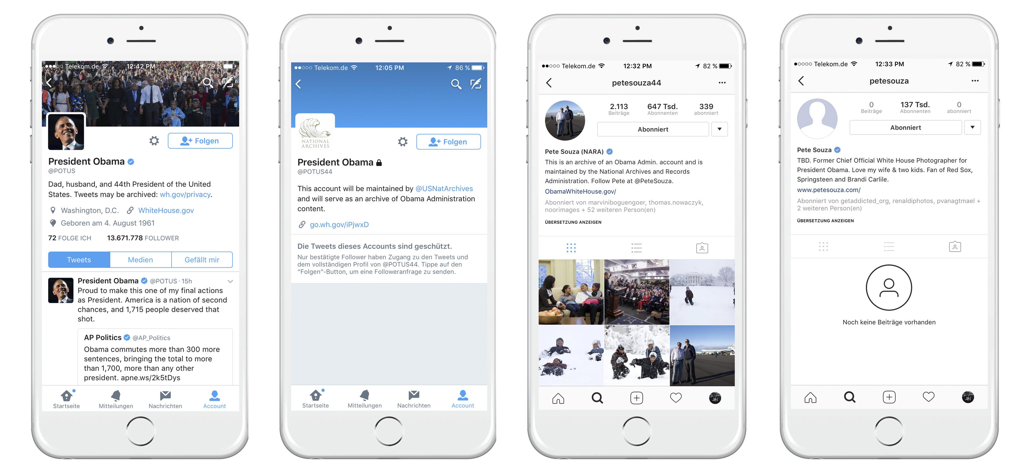 Twitter-Accounts @potus/@potus44 und Instagram-Accounts @petesouza/@petesoua44, Screenshots/Montage: matschbild.de
