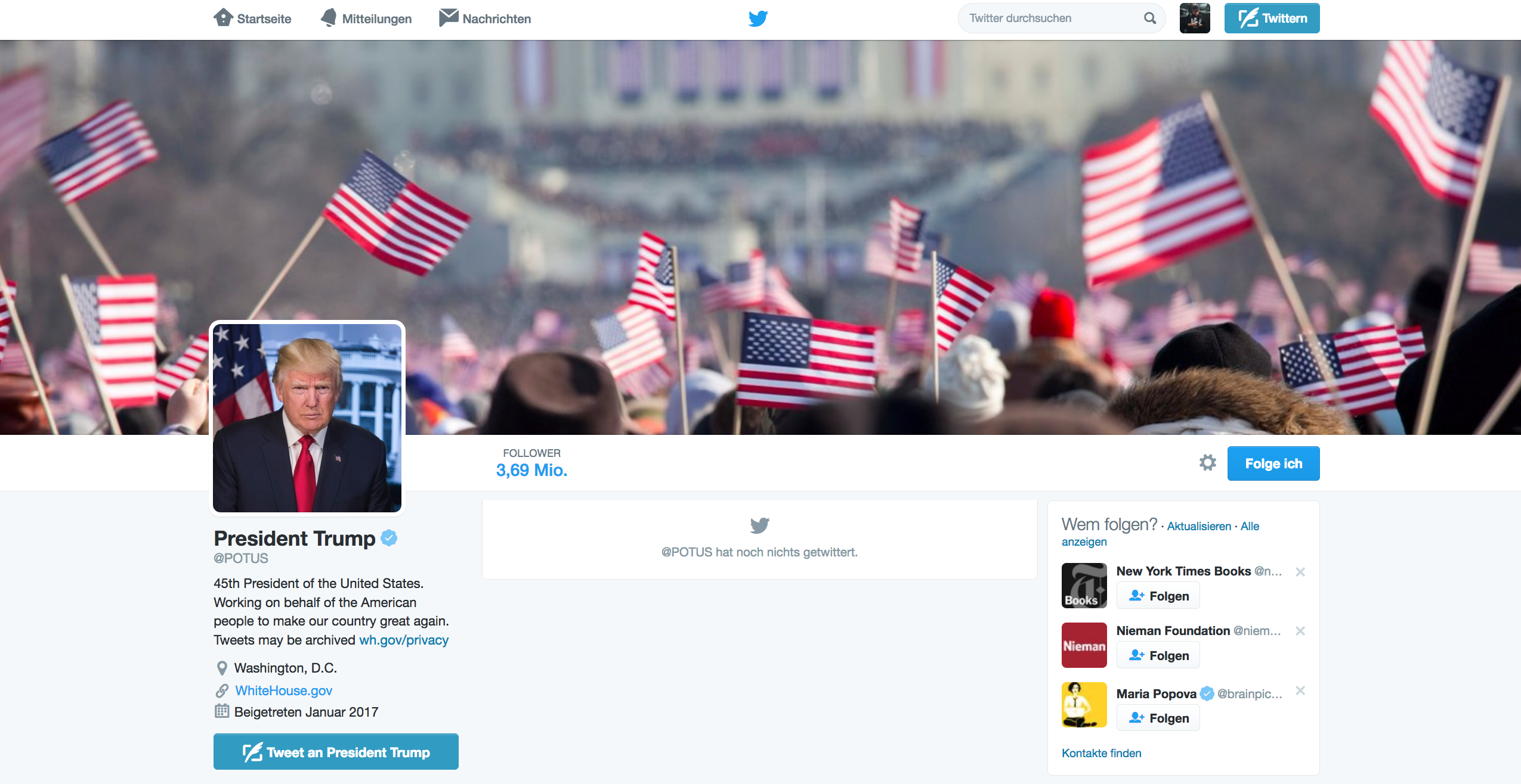 Screenshot vom Twitter-Account @potus, Screenshot: matschbild.de