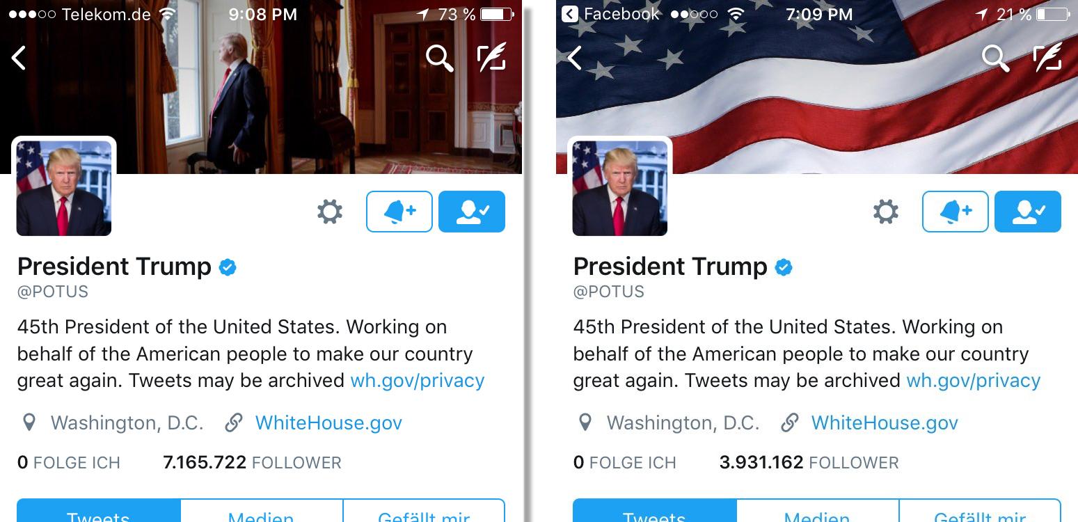 Screenshot vom Twitter-Account @potus - links von 21:08 Uhr, rechts von 19:20 Uhr, Screenshots: matschbild.de