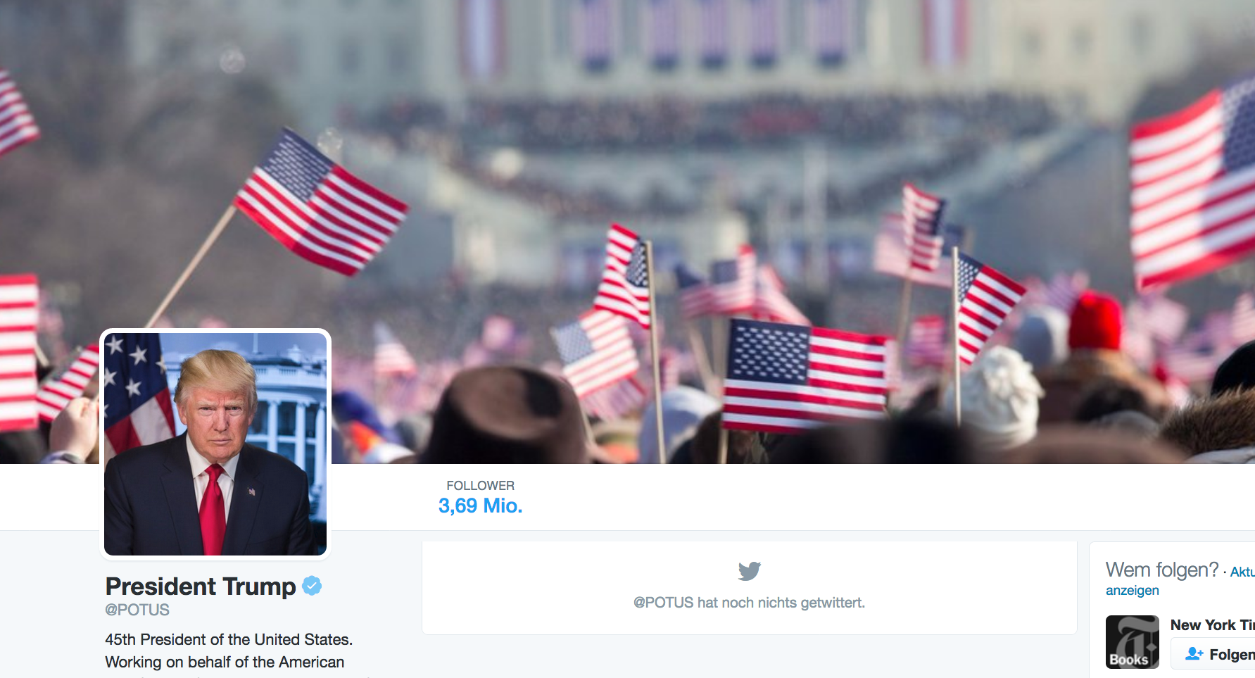 Screenshot vom Twitter-Account @potus, Screenshot: matschbild.de