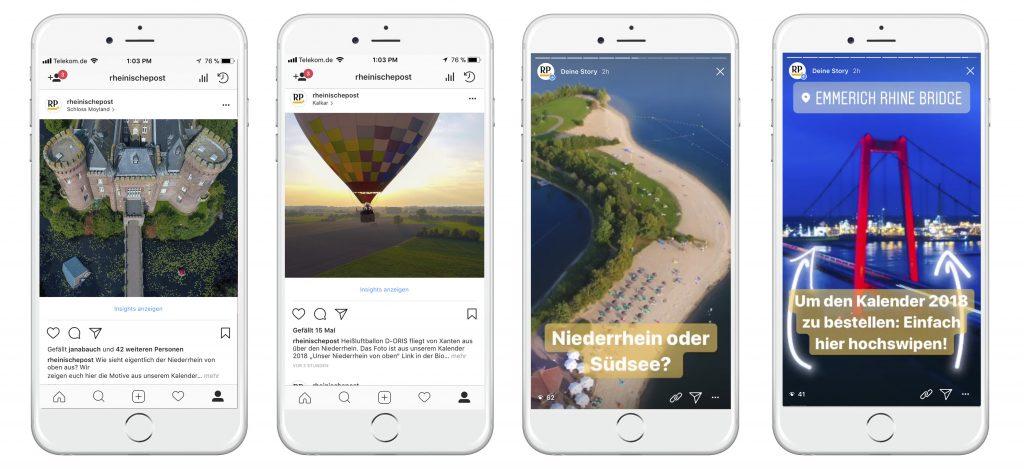 """Instagram Posts und Story der Kampagnen """"Unser Niederrhein von Oben""""."""