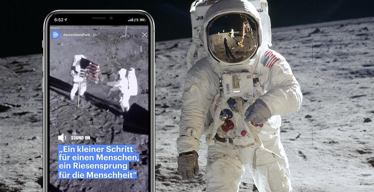 50 Jahre Mondlandung / Apollo11, Social-Media-Kampagne für den Deutschlandfunk, Foto: Neil Armstrong/NASA Public Domain